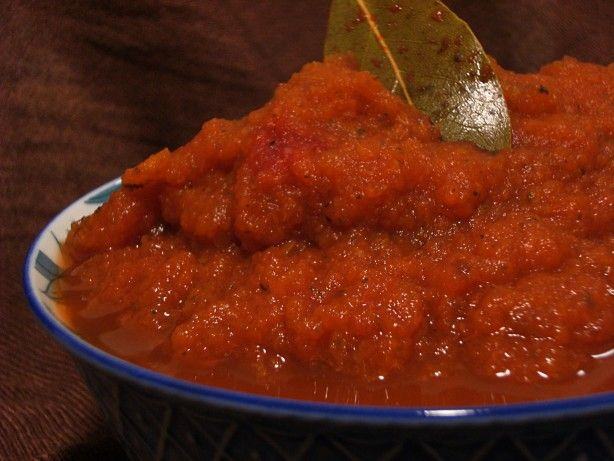 This recipe comes from the Interstitial Cystitis Network site at www.ic-network.com/bev/april00. We enjoy it just as much in spaghetti and enchiladas as tomato sauce. One batch makes the equivalent of 2 larges cans of tomato sauce (4 cups) so I use half the batch and freeze the other half in a freezer bag for next time. I find that I have to add about 25 percent more spice than I did when I used tomatoes.