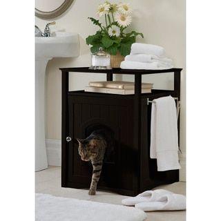 Kitty Espresso Comfort Room Hidden Litter Cat Box Furniture