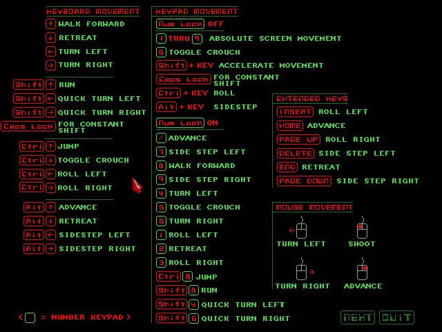 Crusader: No Remorse Screenshot: Just the first screen about player controls... looks more intimidating than it actually is.#crusader #noremorse #origin #oldschool