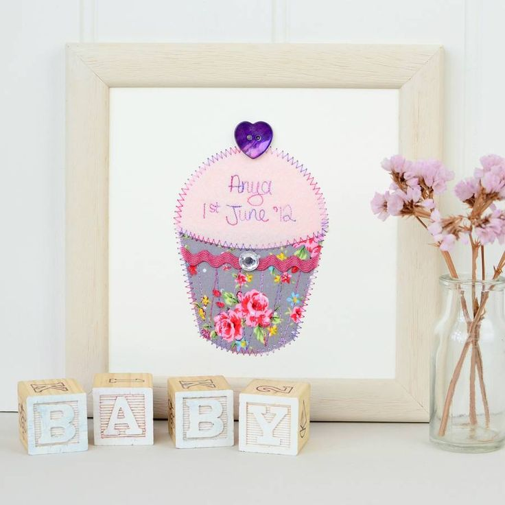 Personalised Cupcake Embroidered Plaque