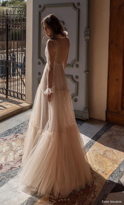 eden aharon 2019 bridal long poet sleeves deep plunging v neck full embellishmen…