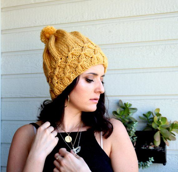 e11143165e600a Winter Hat, Yellow Mustard Beanie, Beret, Sparkle Beret, Chunky Baggy Hat,  Unique Gift, Gift For Her, Pom pom Hat