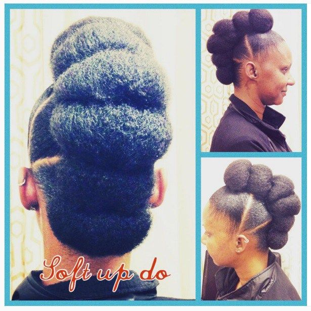 Natural Hair Bun With Bangs