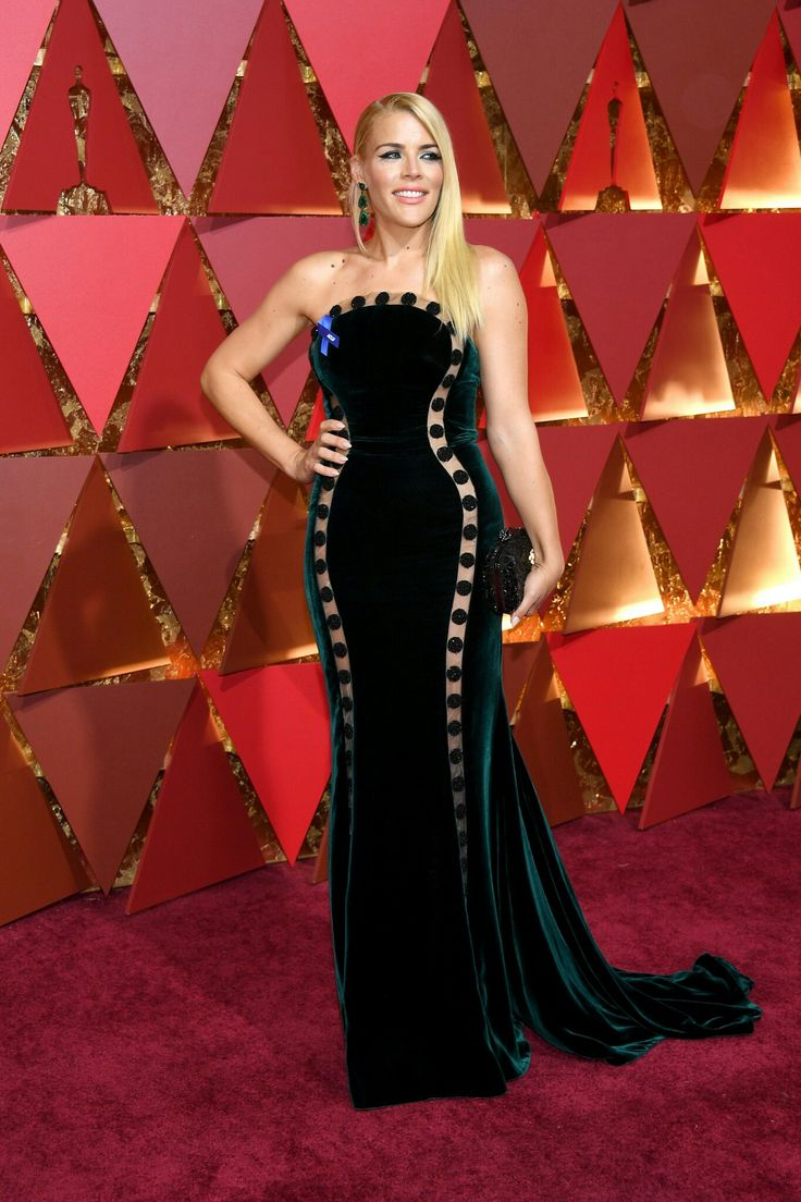 65. Known for her unique choices, Busy Philipps stood out in moss-green velvet topped off with transparent applications designed by Elizabeth Kennedy at the 2017 Academy Awards.