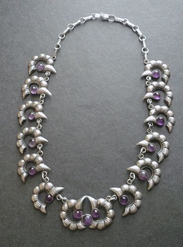 Mexican Silver and Amethyst Necklace Early Vintage Hand Wrought