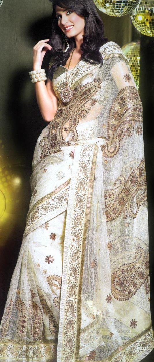 white and henna sari