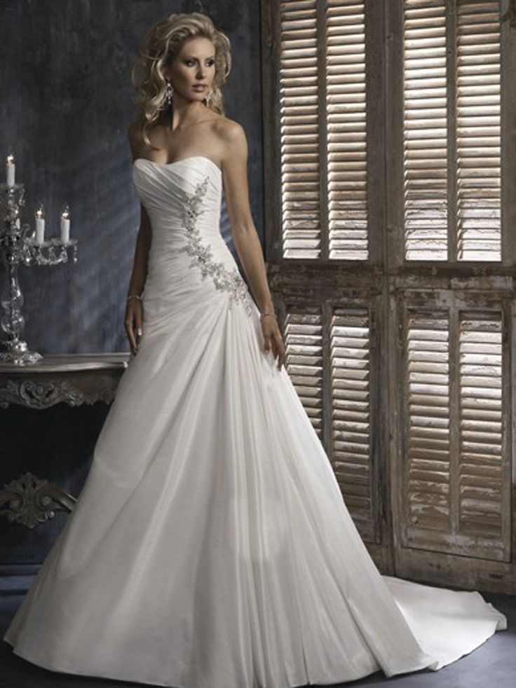 80% OFF 2014 A line Affordable Attractive Flat Ruffle Beads Working Satin Pricess Court Train Wedding Gown In Uk