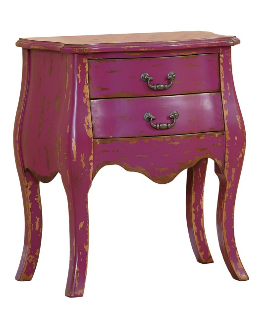 "25-1/4""L x 14""W x 28""H Wood & MDF Chest w/ 2 Drawers, Magenta"