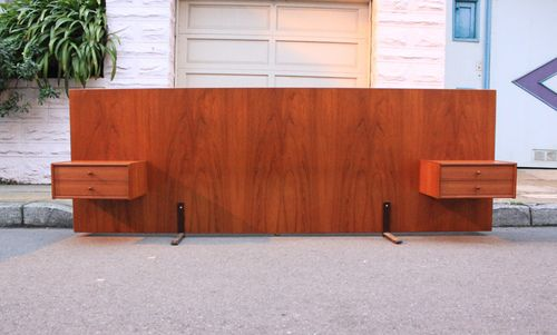 Teak headboard with built-in nightstands. Like what we have now, only better.