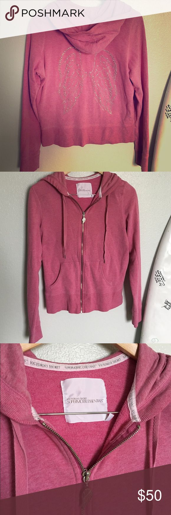 Victoria's Secret wings supermodel essentials pink Size L but fits like a M. Wings on back, pink color Victoria's Secret Sweaters