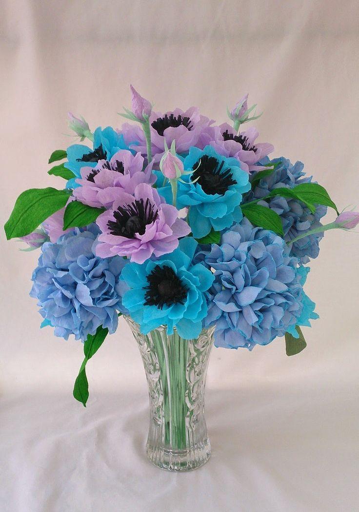 anemone and hydrangea paper flower arrangement