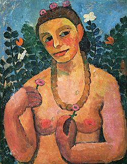 1906- Paula Modersohn-Becker (1876 -1907) Het werk van Paula Modersohn Becker omvat portretten, landschappen, stillevens en zelfportretten. Paula maakte vooral veel zelfportretten in het jaar 1906, hiermee probeerde ze zich onafhankelijk van haar man op te stellen. In deze tijd ontstonden ook haar naakte zelfportretten, die als eerste naaktzelfportretten in de kunstgeschiedenis gelden. Deze waren voor die tijd uiterst vrijpostig en gingen tegen alle kunstconventies in.