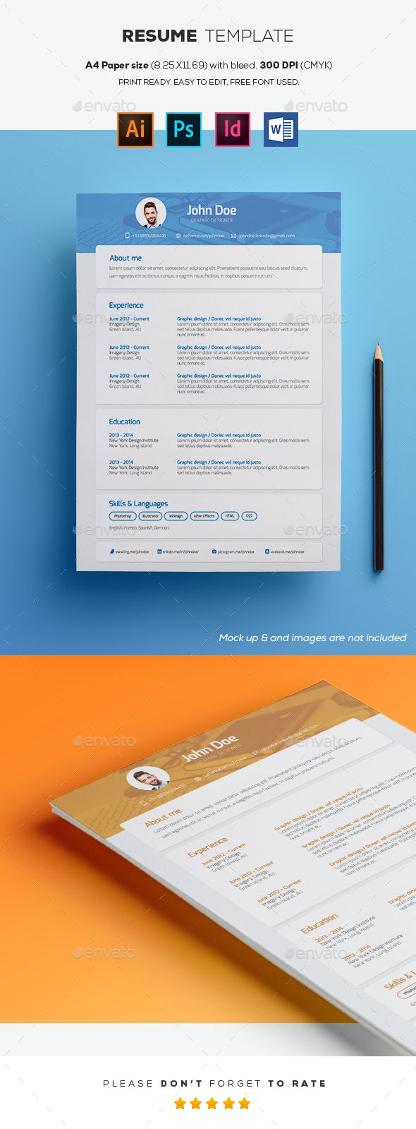 Resume Templates #stationery #corporate identity  • Download here → https://graphicriver.net/item/resume-templates/20671745?ref=pxcr