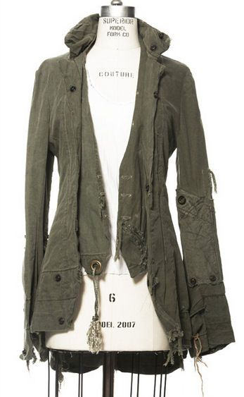 LOVE the details and the way it sort of looks like a tailcoat. Clothes made from vintage US Army tents and duffel bags in linen and canvas by Greg Lauren.