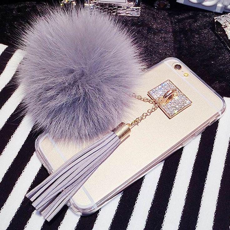 Luxury Fox Fur Ball Pendant Tassel Soft TPU Back cover Phone Case For iPhone 4 4S 5 5S SE 6 6S 7 Plus For Samsung S6 S7 Edge