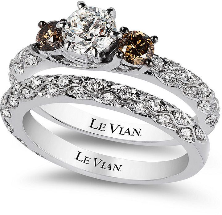 Le Vian Bridal White Certified Diamond and Chocolate Diamond Engagement Ring Set in 14k White Gold (1-3/8 ct. t.w.)