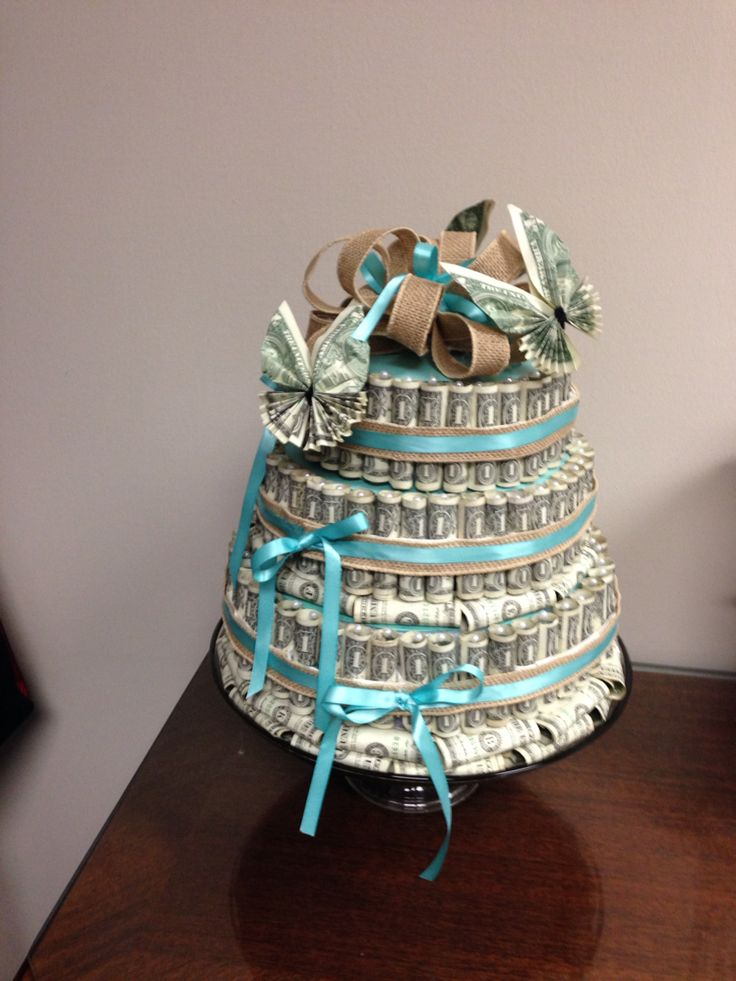 Money cake made out of one dollar bills