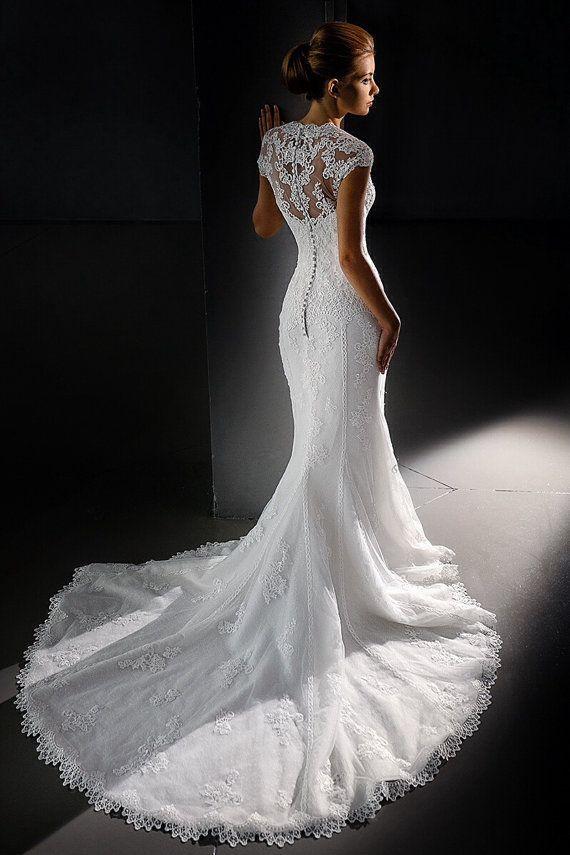 Lace wedding dress. Short sleeve wedding by AutumnSilkBridal