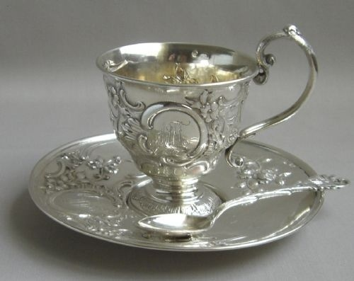 Antique British silver tea cup. .... ♥♥ ....