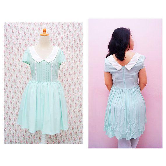 Handmade Retro Turquoise Plus Size Dress With by SenoritaHandmade