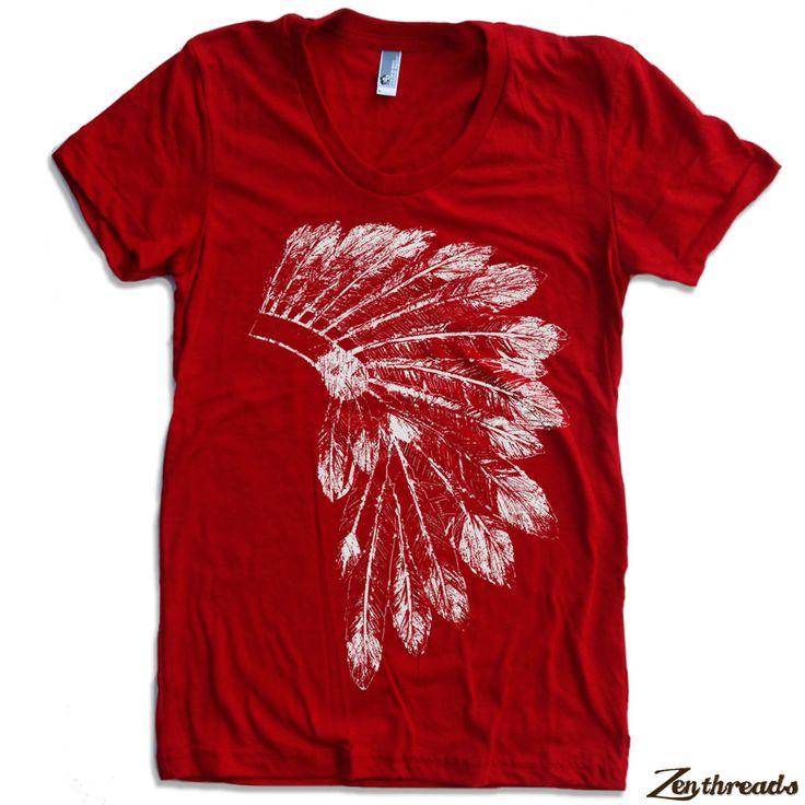 Womens Native American HEADDRESS american apparel T Shirt S M L XL (16 Colors Available). $18.00, via Etsy.