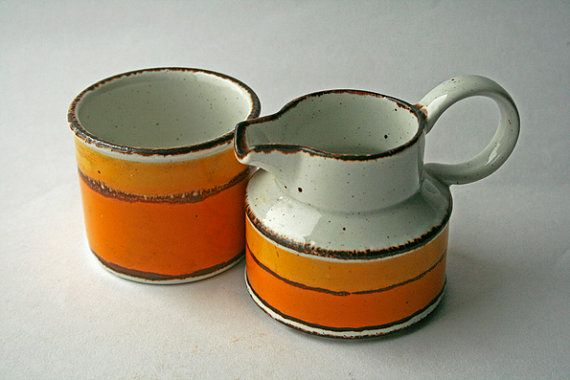 Gorgeous Stonehenge Sun Pattern Milk Jug & Sugar Bowl designed by Jessie Tait. A highly sought after set. Sugar bowl stands 6cms high and is