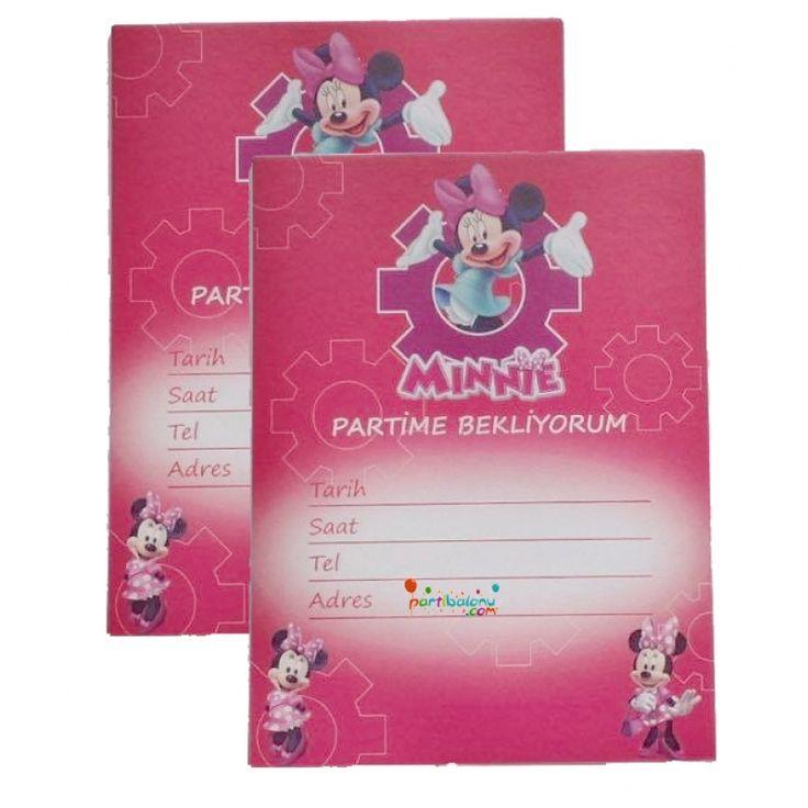 Minnie Mouse Davetiye Mini Mouse Davetiye Ürün Özellikleri  Ürün Paketinde 10 Adet Minnie Mouse Davetiye bulunur. Karton Minnie Mouse Davetiyeler Kaliteli baskı ve canlı çizimdir. Minnie Mouse temalı davetiyelerin boyutu 9,5 cm ve 14,5 cm'dir. Minnie Mouse davetiyeleri zarfsız gönderilir. Çocuklarınızın doğum günü partilerine arkadaşlarını davet etmek için kullanılan bir üründür.