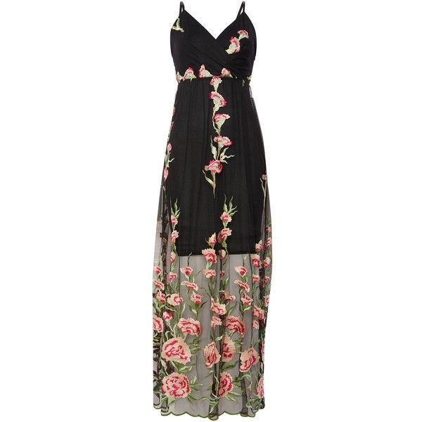 Jessica Wright Sleeveless Embroided Overlay Maxi dress (1 325 SEK) ❤ liked on Polyvore featuring dresses, black, women, embroidery maxi dress, v neck dress, sleeveless dress, jessica wright dresses and overlay dress
