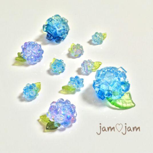 【再販】〜和菓子風〜紫陽花寒天のピアス*極小サイズ
