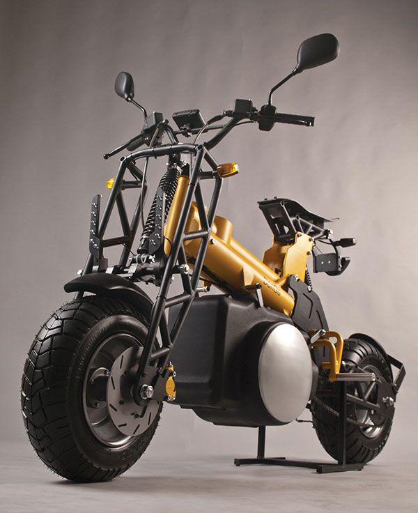 DonGo - Electric Modular Motorcycle by Otto Polefko - DonGo is the stripped-down, bare-bones bike for those who like to DIY! In petrol and electric versions, either of the skeletal design can be delivered as flat-pack ready as possible. Read more at http://www.yankodesign.com/2014/07/23/modular-moto/#G1ekIzfu5pF65Rva.99