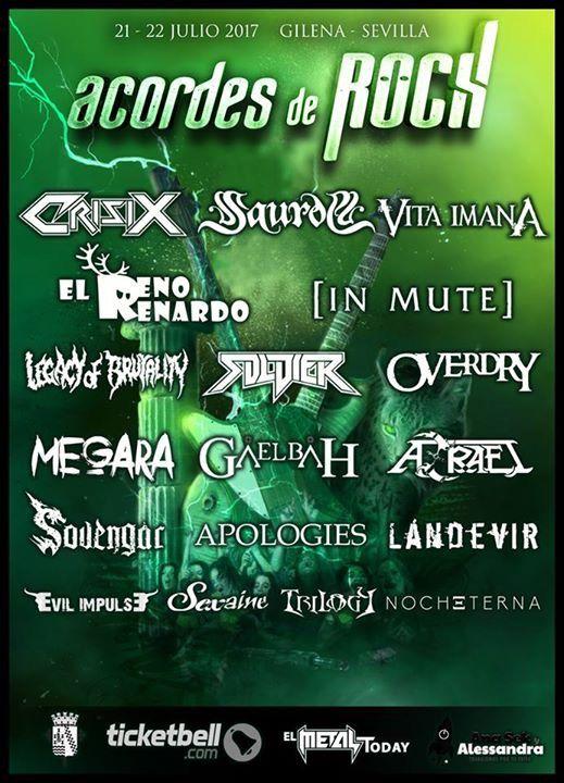 Primeras confirmaciones para el festival Acordes de Rock 2017  en Gilena (Sevilla )