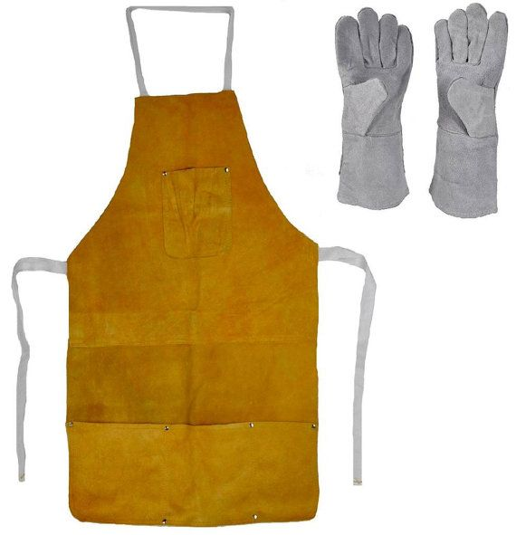 """Leather Split Cow Hide 32"""" Heat Resistant Safety Apron + 13"""" Gloves Set Jewelry Making Welding Melting Refining Gold Silver KIT-0032"""
