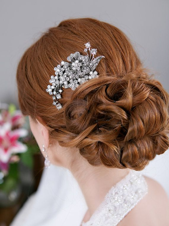 Crystal Hair Comb, Rhinestone Bridal Hair comb Vintage Hair Brooch Wedding Jewel Comb Classic Wedding Hair Accessories - Ready to Ship