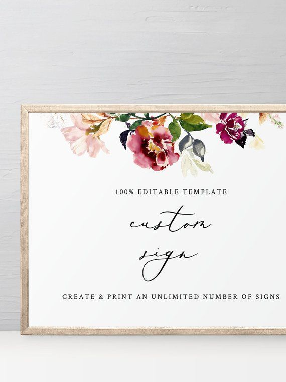 Customizable Boho Wedding Sign Template Editable Instant Download