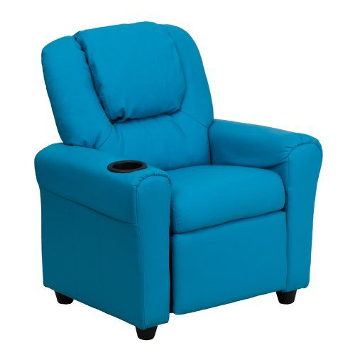 Kids' Recliners - Flash Furniture DGULTKIDTURQGG Contemporary Turquoise Vinyl Kids Recliner with Cup Holder and Headrest Green >>> Check out the image by visiting the link.