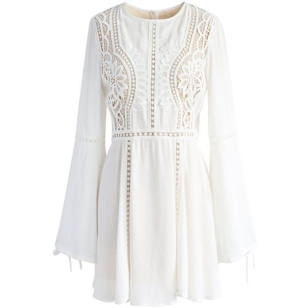 Chicwish Crochet Diary White Dress with Bell Sleeves (3.750 RUB) ❤ liked on Polyvore featuring dresses, white, ribbon dress, flared sleeve dress, crochet sleeve dress, cutout dresses and white dress