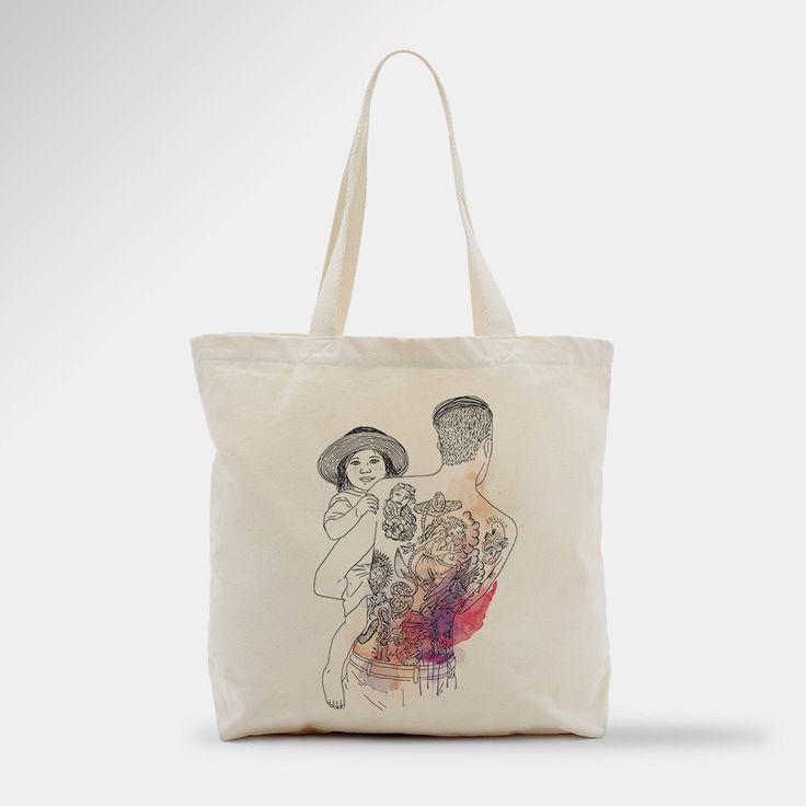 Tote bag, hipster, tatouage, père & fils de la boutique PepIllustration sur Etsy