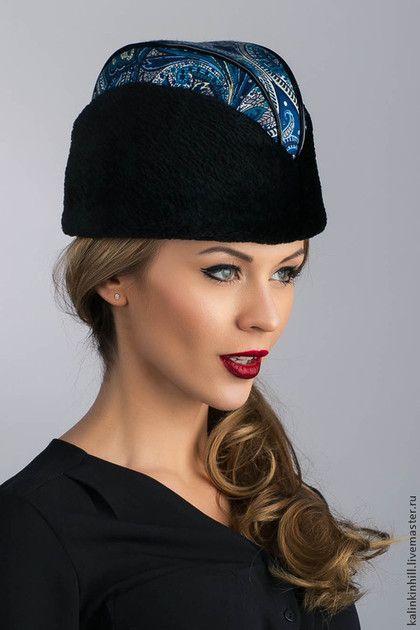 Пилотка арт. 119 - пейсли,пилотка,шапка из платка,шапка из меха,Шапка из бобра