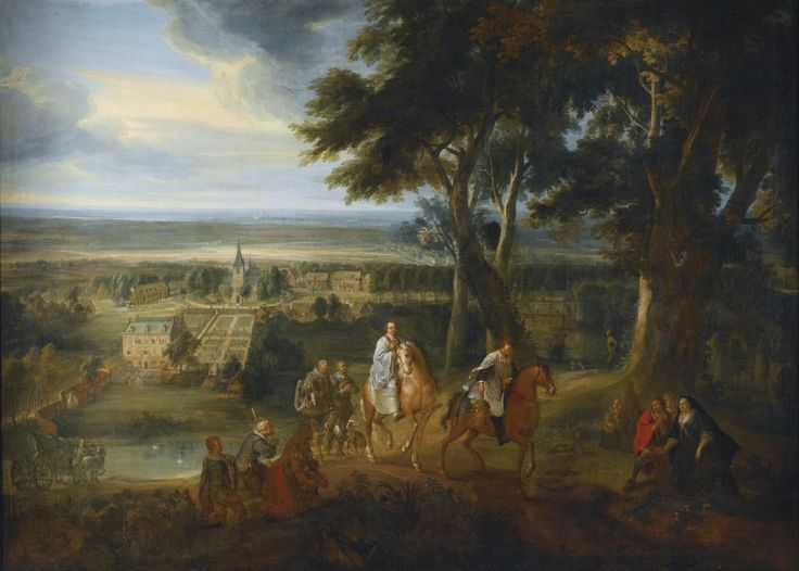Jacques d'Arthois BRUSSELS 1613 - 1686 RUDOLF HAPSBURG (1218- 1291) HANDING OVER HIS HORSE TO A PRIEST DELIVERING THE VIATICUM oil on canvas 206.5 by 284 cm.; 81 1/4  by 111 3/4  in.: