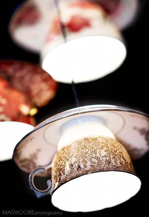 brilliant idea for accent lighting. Perfect for your place or a quaintly eclectic coffee shop