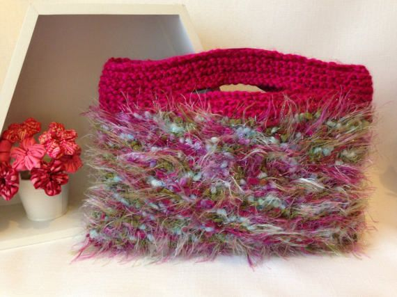 Fuzzy Pink Knitted Handbag by ByDebz on Etsy