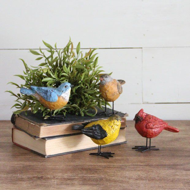 Colorful Bird Figurine With Wire Feet Set Of 4 Farmhouse Decor Decorative Items Home Decor Accessories