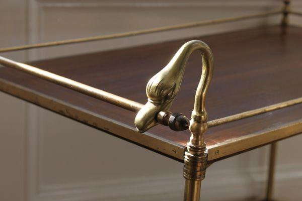 Swan Handle Oak And Brass Drinks Trolley | vinterior.co