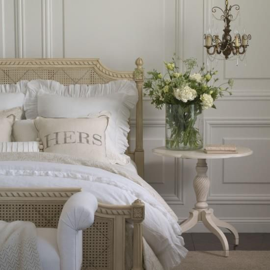 White and beige bedroom