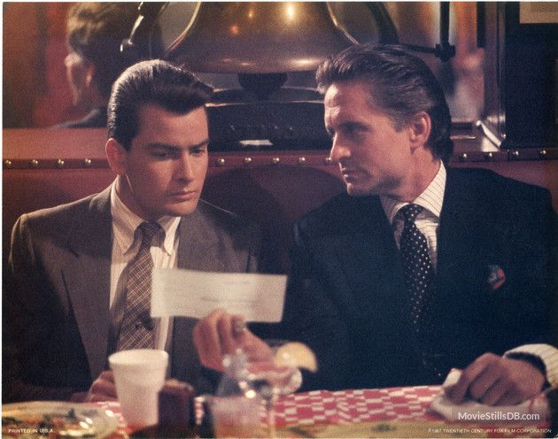 """Charlie Sheen and Michael Douglas (from """"Wall Street"""")"""