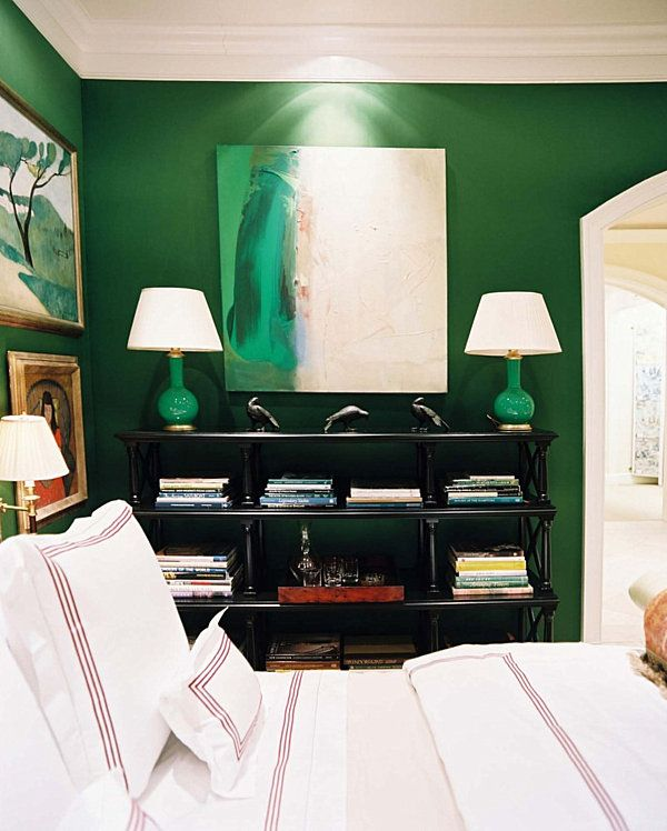 Dazzling Jewel-Toned Decor - Decoist. this would look good for your living room. You could do a painting like that. Love the green lamps. Black accents with pops of white and gold will look great.