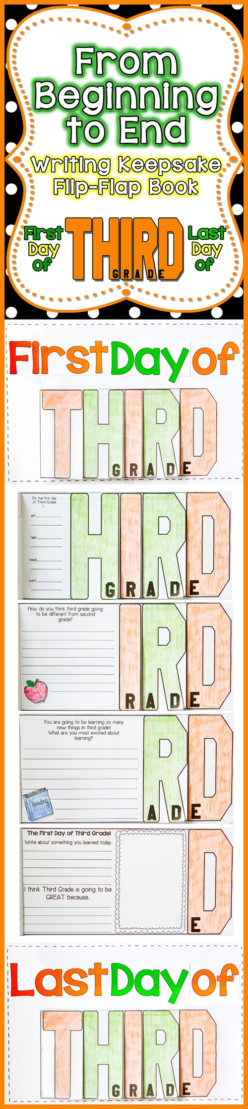 FUN, Interactive, and a great Keepsake for your parents. Have your students create a T-H-I-R-D Grade Flip-Flap Writing Keepsake on the First Day of School and the Last Day of School. Parents will cherish it for years to come!$