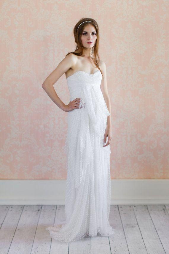 Love story romantic swiss dot net wedding gown for Dotted swiss wedding dress