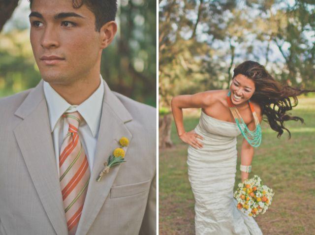 Orange and Turquoise Wedding Inspiration / Christina Heaston Photography