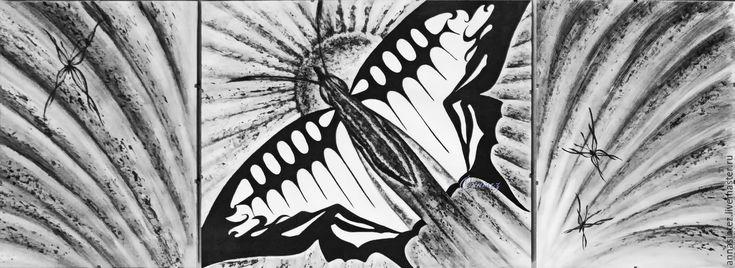 Купить картина триптих: Крылья времени графика - интересная графика, графика в подарок, модульная картина